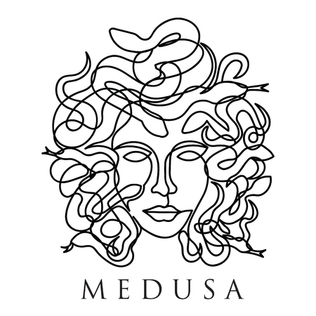 medusa face continuous single line style isolated on white