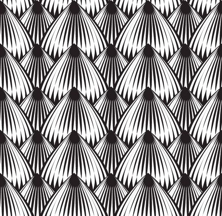 Linocut Seamless Optical pattern black and white Иллюстрация