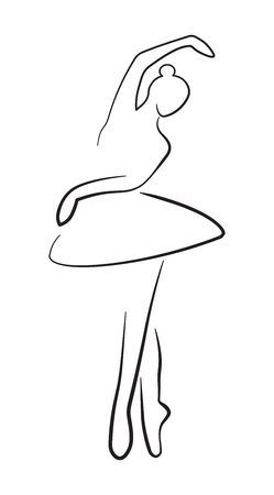 Ballerina Silhouette Contour isolated on white