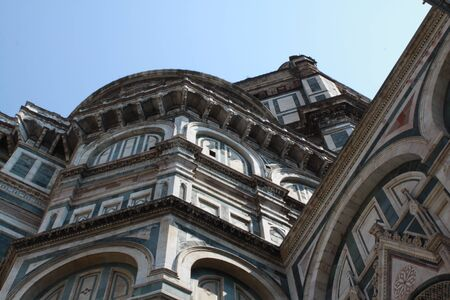 Florence Duomo Santa Maria Del Fiore Architectural Details Low Angle View.