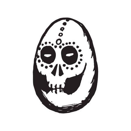 Sketched Calavera - Dia de los muertos - Egg Shaped Skull.