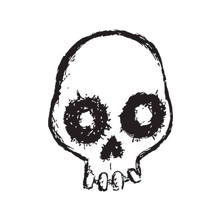 Scary Sketched Skull - ink style on white Illustration