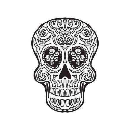 Sketched Calavera - dia de los muertos - traditional decoration
