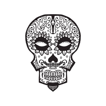 Sketched Calavera - dia de los muertos - traditional decoration