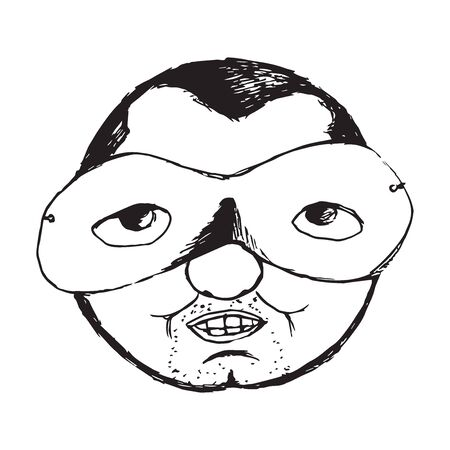 Ugly  man round face with a carnival mask Illustration