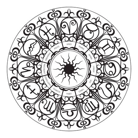 Zodiac Signs Wheel dark style on white Иллюстрация