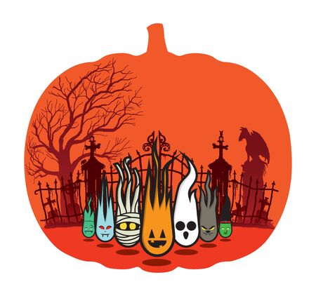 Halloween scene in a pumpkin shape on white