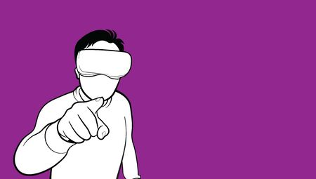 Single person experiencing virtual reality isolated on purple