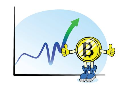 Bitcoin chart with cartoon character on white