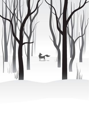 Winter landscape with trees and fox silhouette