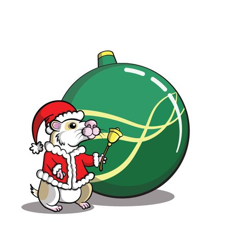 Santa Hamster character for christmas purpose with single bauble (transparent background)