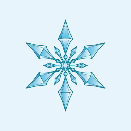 Snowflake Crystal Cartoon Style Фото со стока - 134284103