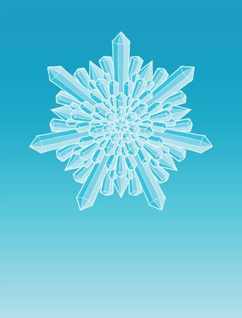 Diamond Crystal Snowflake Cartoon Style design