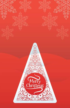 Christmas Tree Greetings Card red design Иллюстрация