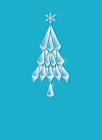 Frozen Christmas Tree Greetings Card isolated on light blue
