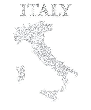 Lowpoly Map of Italy on white transparent background