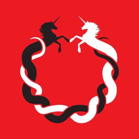 Intertwined unicorn facing each other - circle symbol (black and white on red) Иллюстрация