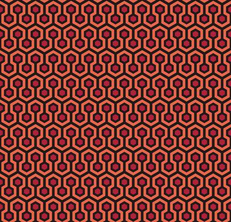 Hexagon Seamless Pattern in red (square example) Иллюстрация