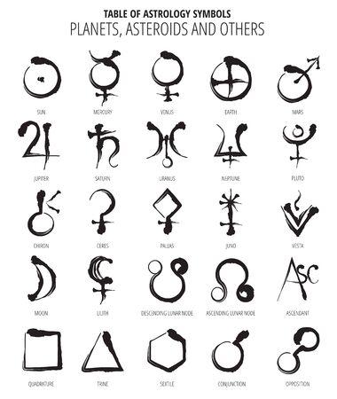 Tabla de símbolos de astrología: planeta dibujado a mano, asteroides, jeroglíficos de símbolos Ilustración de vector