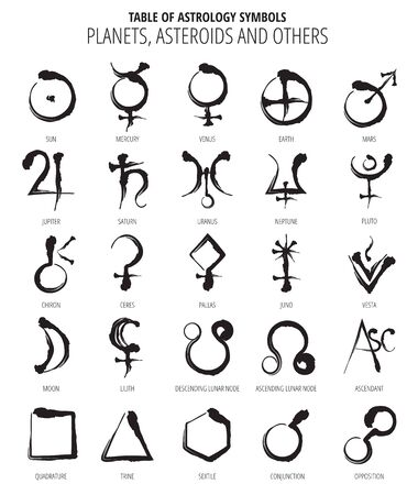 Table Of Astrology Symbols: Hand Drawn Planet, Asteroids, Symbols Hieroglyph