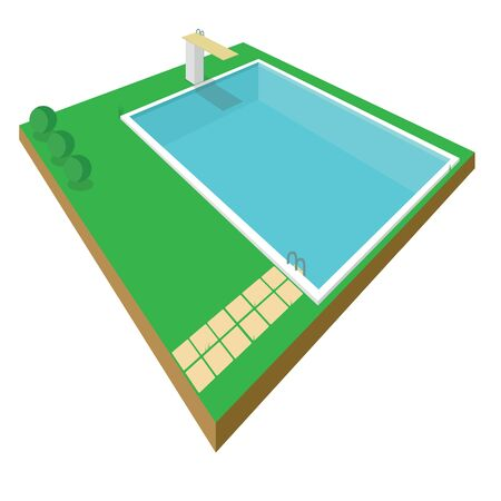 SWIMMING POOL ISOMETRIC STYLE ISOLATED ON WHITE