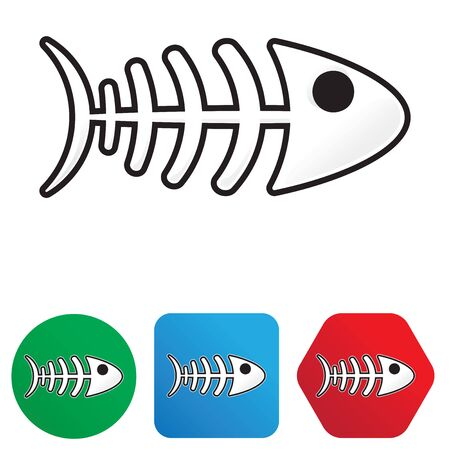 Fishbone cartoon style sticker (isolated and on shapes)