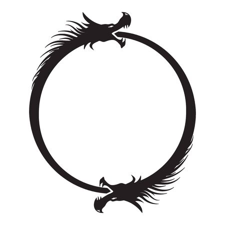 Double Dragons Ouroboros Infinity Symbol isolated on white Иллюстрация