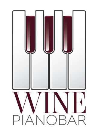 Wine Piano Bar Concept Logo on white