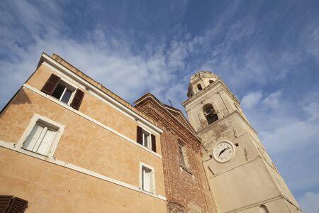 Facade Close-up View Church in Sirolo, Ancona - Italy (Church of San Nicolo di Bari)