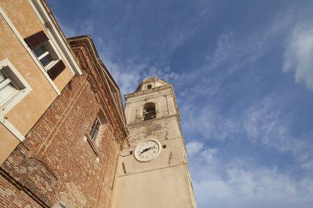 Facade Close-up View Church in Sirolo, Ancona - Italy  (Church of San Nicolo di Bari) Stock Photo