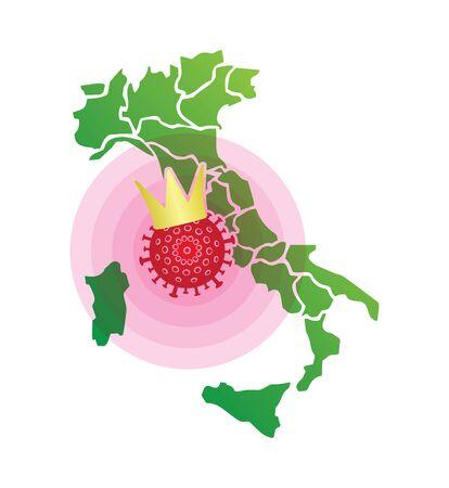CoronaVirus (2019-nCoV) italy spreading - conceptual illustration