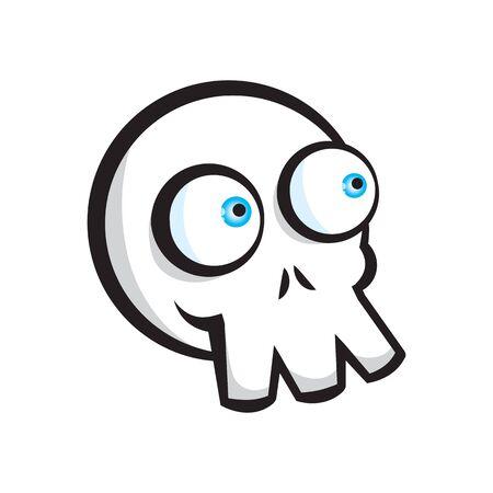 Skull in street art style isolated on white