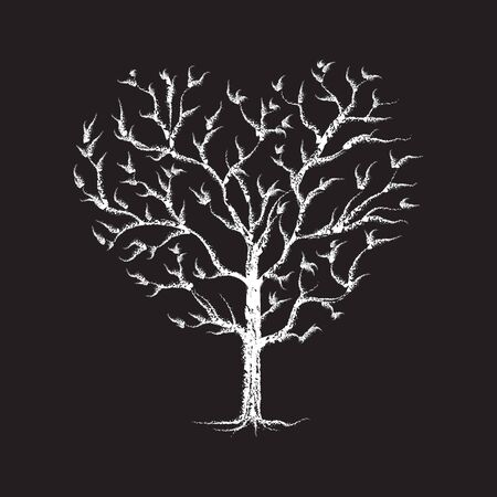Heart Tree chalk sketched white isolated on black