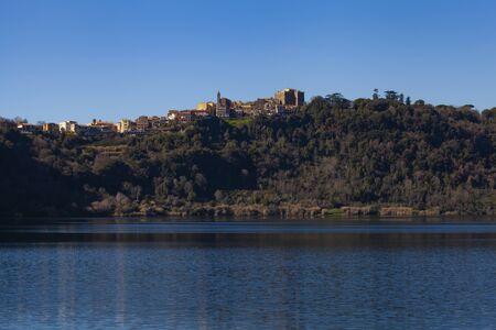 Genzano di Roma Village as seen from Nemi lake (Low angle view)