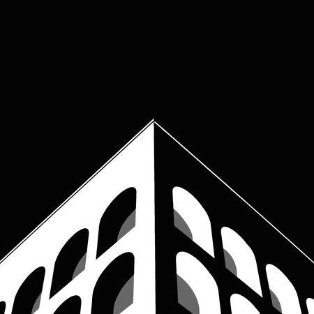 Iconic Architecture of Palazzo della Civilta in Rome (Black and White Vector/Illustration)