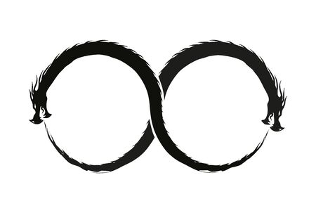 Double Dragon Infinity Symbol isolated on white