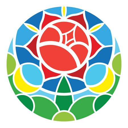 Rose stained glass window / logo (color on white) Vectores