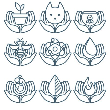 Care Share Offer Concept icon set in minimalist style part 4 Ilustrace