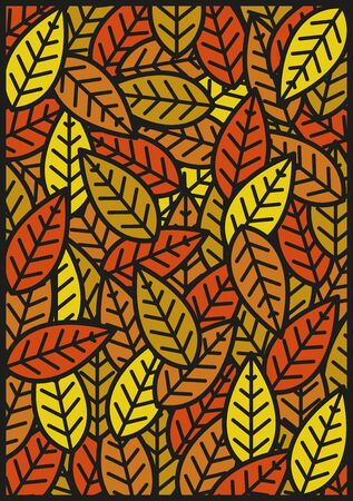 Panel with foliage decoration in autumn colors