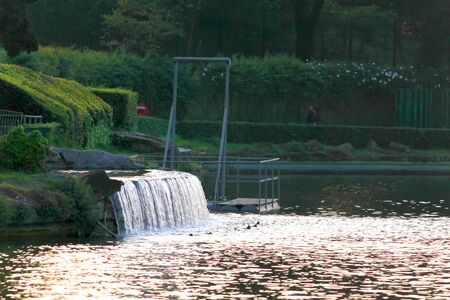 Eur District in Roma  artificial lake fountains and falls. 版權商用圖片