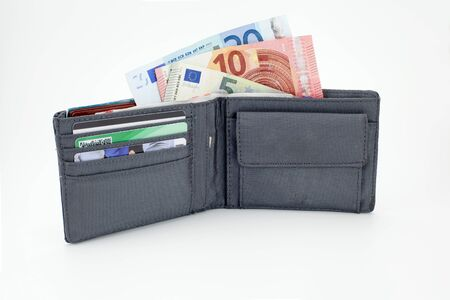 open male wallet with banknotes (euro currency)