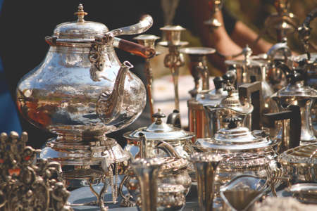 Silver and Porcelain Tea Set in a street market