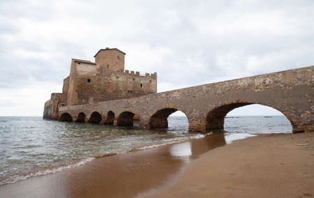 Ancient Fortress built over the thyrrenian sea (Torre Astura, Nettuno, Italy)
