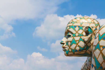 Florence, Italy - May 23, 2011: detail of sculpture by the artist Rabarama in the open air in a sunny day with clouds.