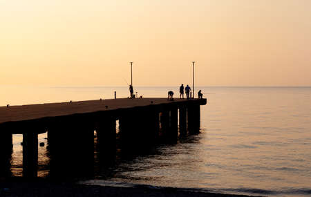 Seascape view with pier in the early morning (Trebisacce, Calabria, Italy)