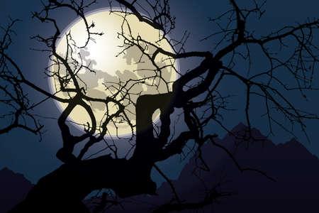 Moonlight Landscape postcard for Halloween celebration Иллюстрация