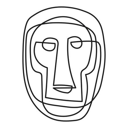 Monkey Face tribal mask continuous single line style isolated on white
