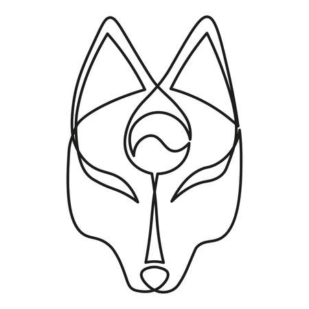 Japanese Fox mask continuous single line style