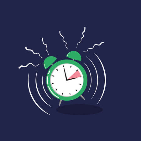 alarm clock change for daylight savings time isolated on dark blue Stock fotó - 155869346