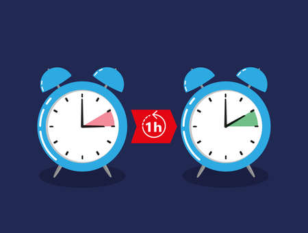 alarm clock change for daylight savings time isolated on dark blue Иллюстрация